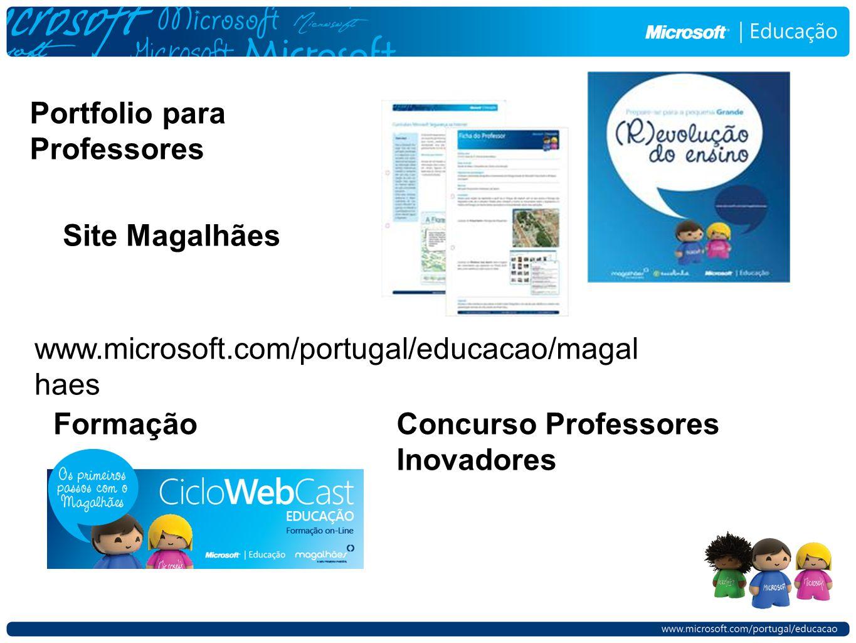 Portfolio para Professores Site Magalhães www.microsoft.com/portugal/educacao/magal haes FormaçãoConcurso Professores Inovadores