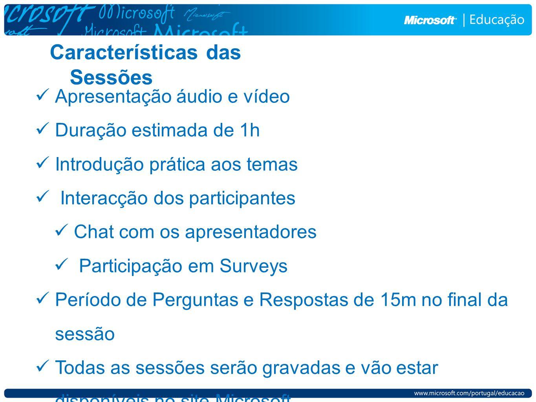 Características das Sessões Apresentação áudio e vídeo Duração estimada de 1h Introdução prática aos temas Interacção dos participantes Chat com os ap