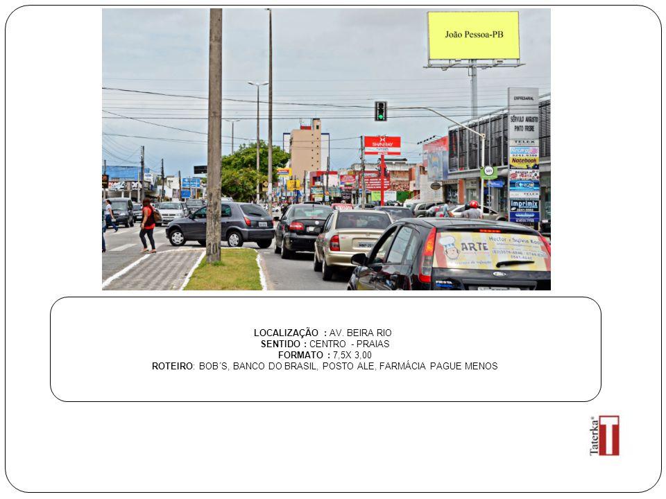 LOCALIZAÇÃO : AV. BEIRA RIO SENTIDO : CENTRO - PRAIAS FORMATO : 7,5X 3,00 ROTEIRO: BOB´S, BANCO DO BRASIL, POSTO ALE, FARMÁCIA PAGUE MENOS