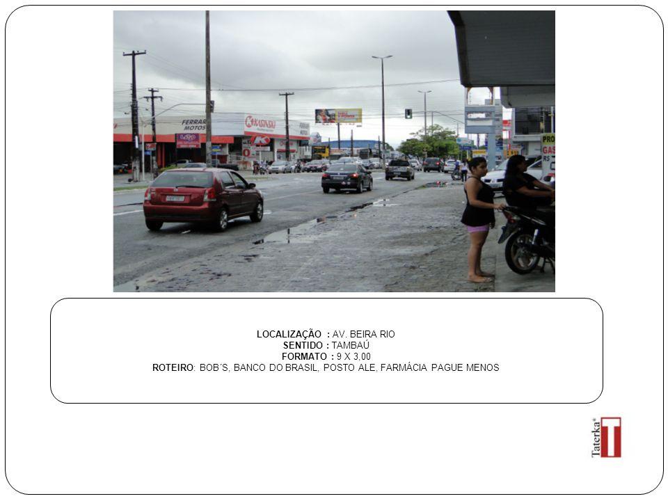 LOCALIZAÇÃO : AV. BEIRA RIO SENTIDO : TAMBAÚ FORMATO : 9 X 3,00 ROTEIRO: BOB´S, BANCO DO BRASIL, POSTO ALE, FARMÁCIA PAGUE MENOS