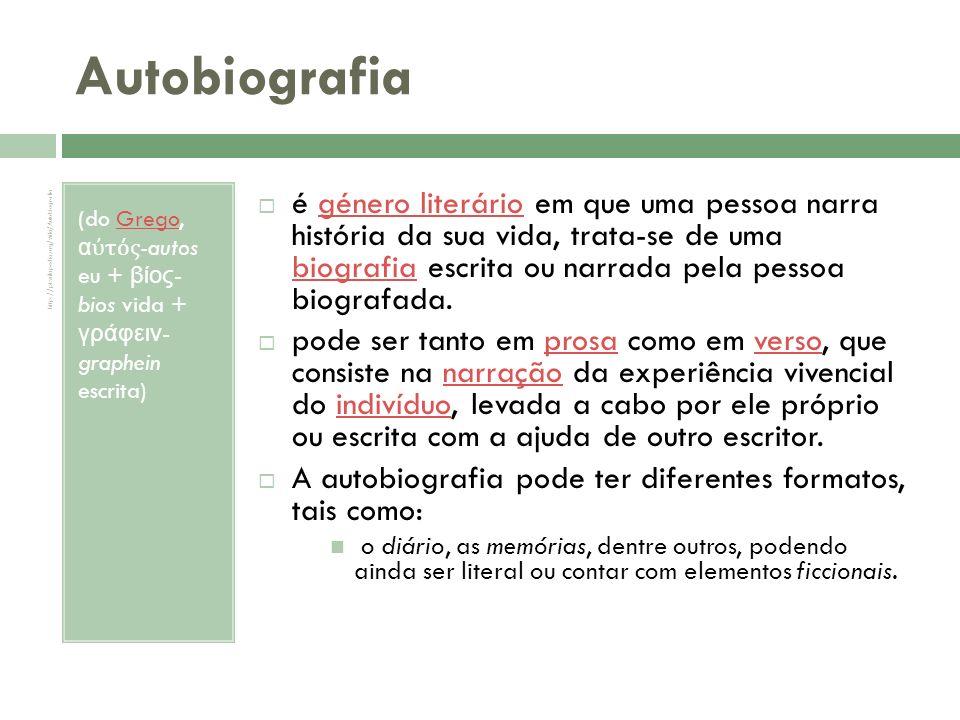 Biografia (grego: βιογραφία, de β í ος - bíos, vida e γραφή – gráphein, escrever)grego vida escrever A Biografia é um género literário em que o autor narra a história da vida de uma pessoa ou de várias pessoas.