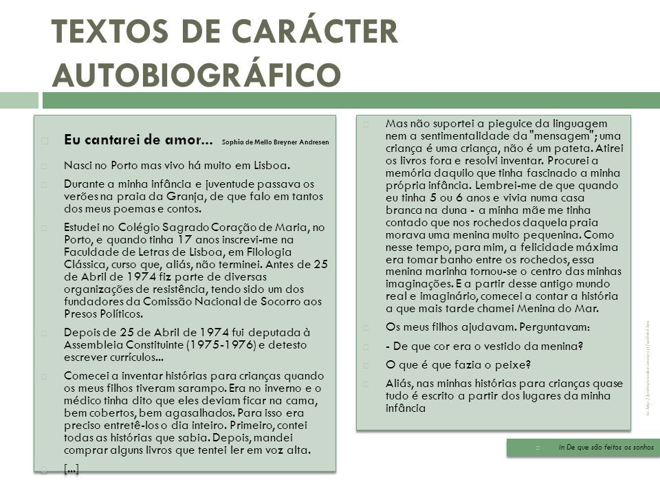 Biografia/ Autobiografia A autobiografia In: http://portuguesonline.no.sapo.pt/modulo1.htm