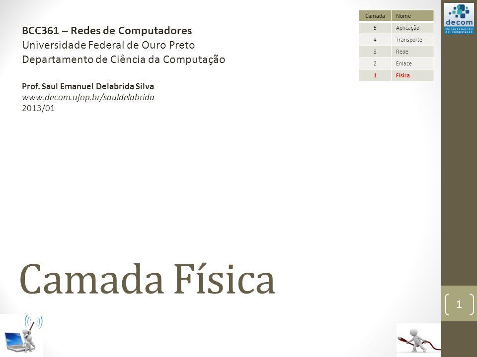 Camada Física BCC361 – Redes de Computadores Universidade Federal de Ouro Preto Departamento de Ciência da Computação Prof. Saul Emanuel Delabrida Sil
