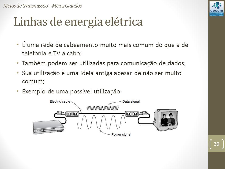 Linhas de energia elétrica É uma rede de cabeamento muito mais comum do que a de telefonia e TV a cabo; Também podem ser utilizadas para comunicação de dados; Sua utilização é uma ideia antiga apesar de não ser muito comum; Exemplo de uma possível utilização: Meios de transmissão – Meios Guiados 39