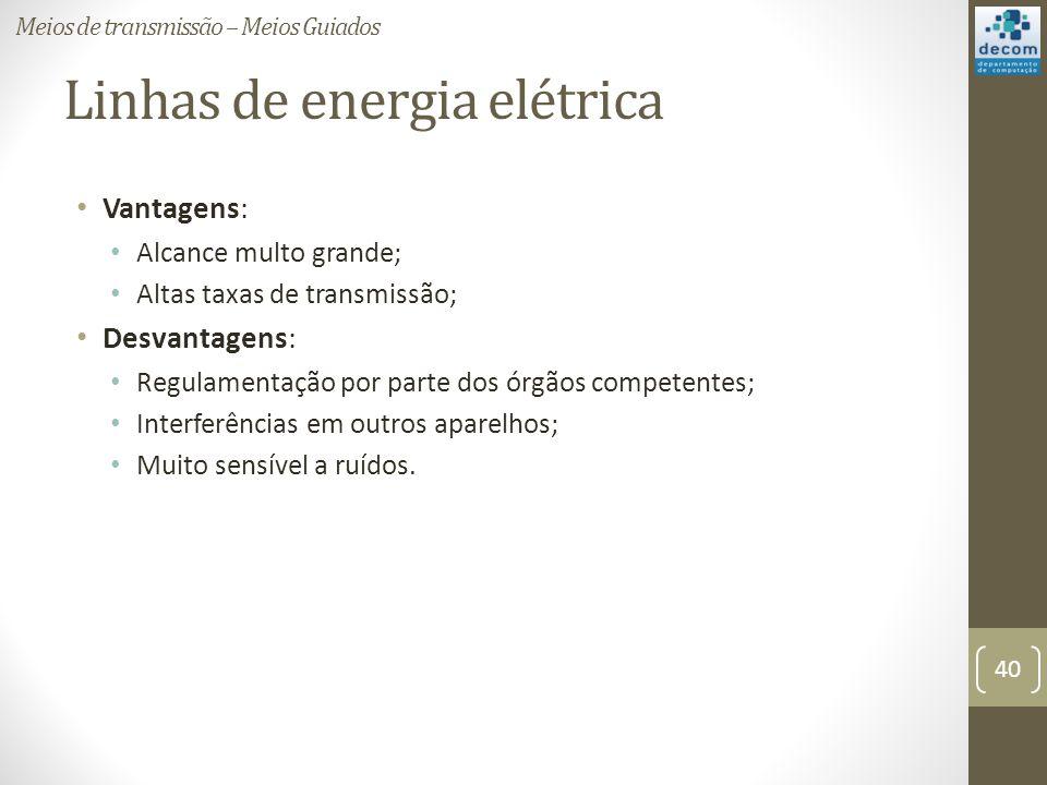 Linhas de energia elétrica Vantagens: Alcance multo grande; Altas taxas de transmissão; Desvantagens: Regulamentação por parte dos órgãos competentes;