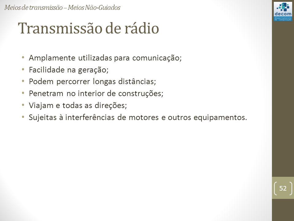 Transmissão de rádio Amplamente utilizadas para comunicação; Facilidade na geração; Podem percorrer longas distâncias; Penetram no interior de construções; Viajam e todas as direções; Sujeitas à interferências de motores e outros equipamentos.