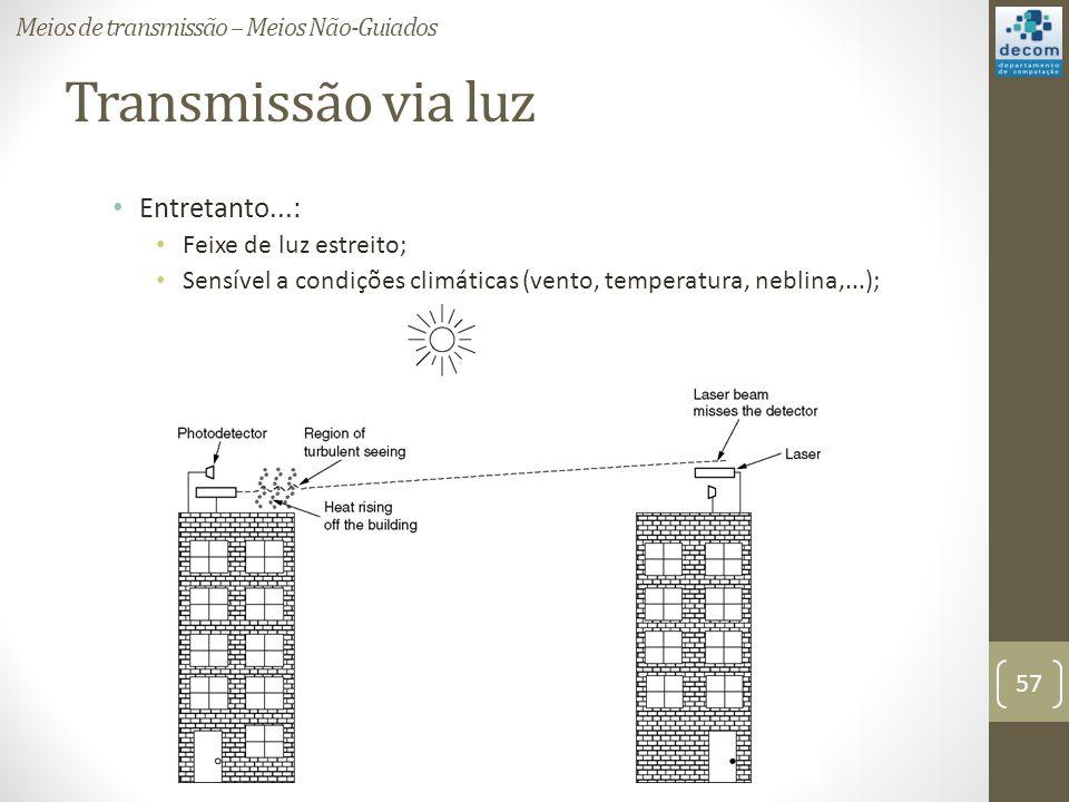 Transmissão via luz Entretanto...: Feixe de luz estreito; Sensível a condições climáticas (vento, temperatura, neblina,...); Meios de transmissão – Me