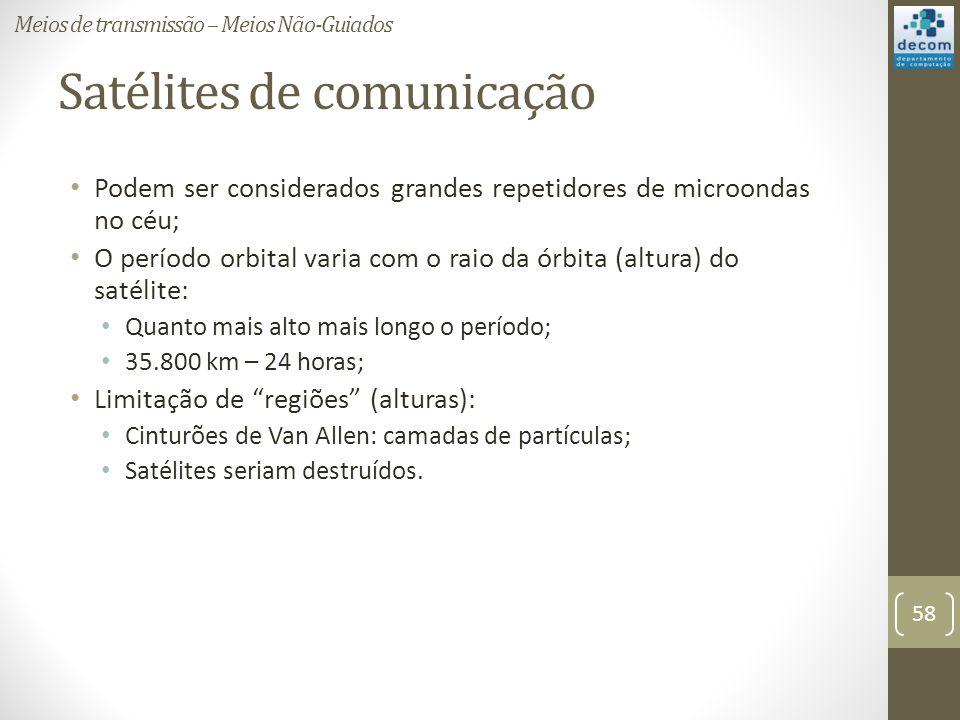 Satélites de comunicação Podem ser considerados grandes repetidores de microondas no céu; O período orbital varia com o raio da órbita (altura) do satélite: Quanto mais alto mais longo o período; 35.800 km – 24 horas; Limitação de regiões (alturas): Cinturões de Van Allen: camadas de partículas; Satélites seriam destruídos.