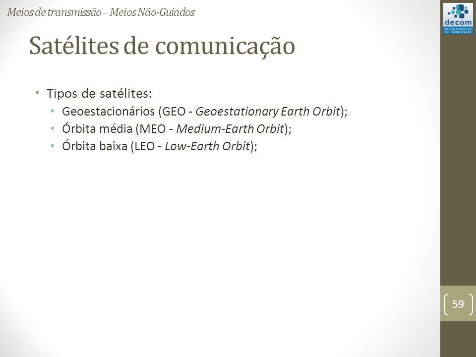 Satélites de comunicação Tipos de satélites: Geoestacionários (GEO - Geoestationary Earth Orbit); Órbita média (MEO - Medium-Earth Orbit); Órbita baix