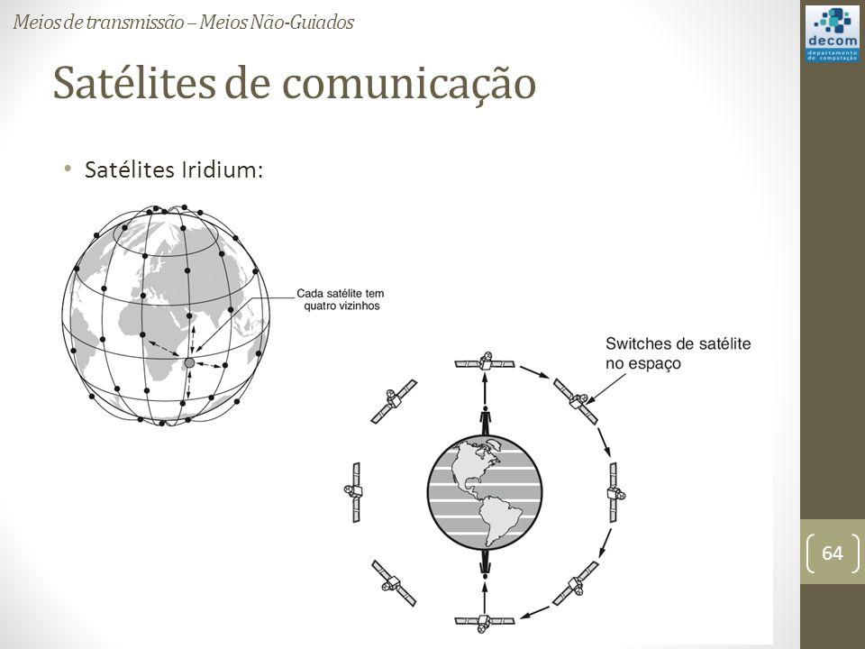 Satélites de comunicação Satélites Iridium: Meios de transmissão – Meios Não-Guiados 64
