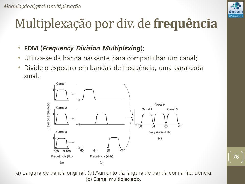 Multiplexação por div. de frequência FDM (Frequency Division Multiplexing); Utiliza-se da banda passante para compartilhar um canal; Divide o espectro