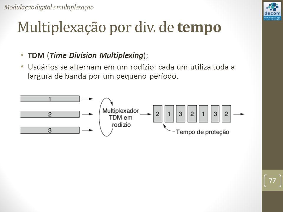 Multiplexação por div. de tempo TDM (Time Division Multiplexing); Usuários se alternam em um rodízio: cada um utiliza toda a largura de banda por um p