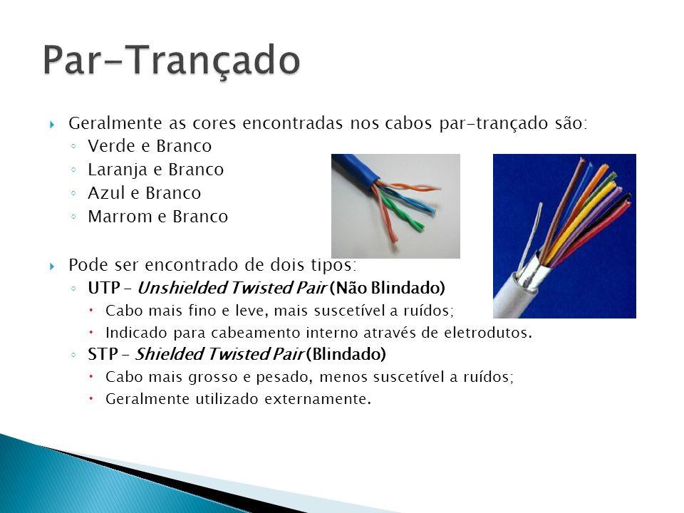 Geralmente as cores encontradas nos cabos par-trançado são: Verde e Branco Laranja e Branco Azul e Branco Marrom e Branco Pode ser encontrado de dois