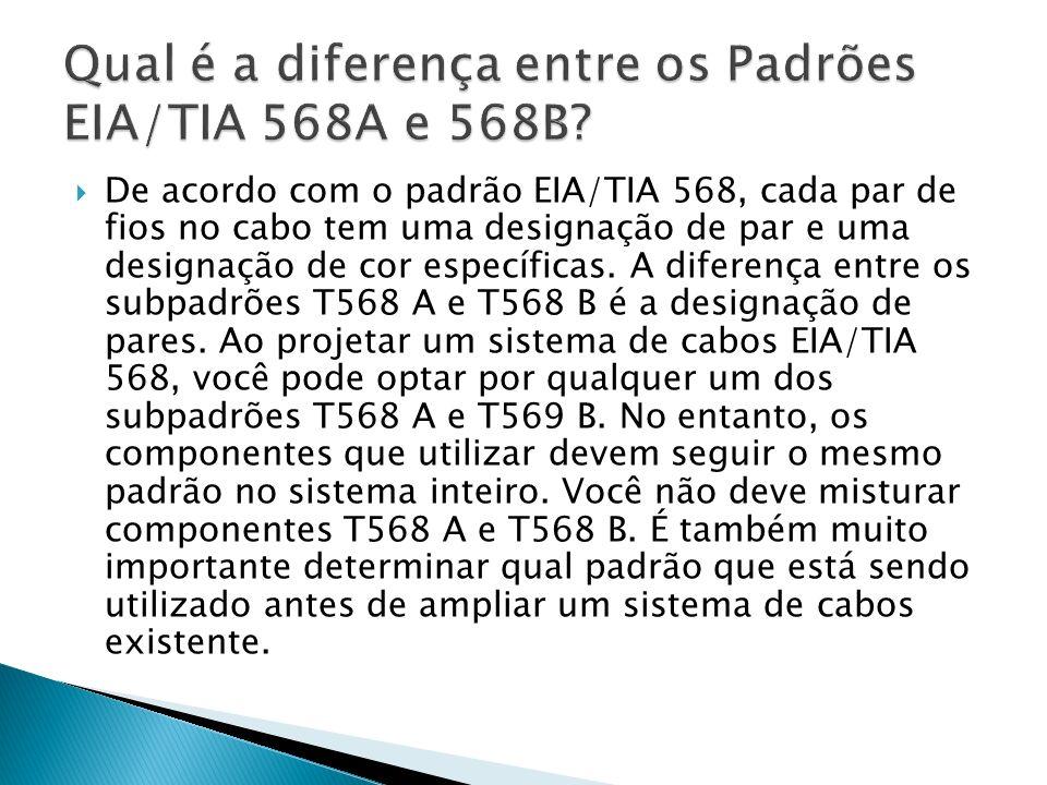 De acordo com o padrão EIA/TIA 568, cada par de fios no cabo tem uma designação de par e uma designação de cor específicas.
