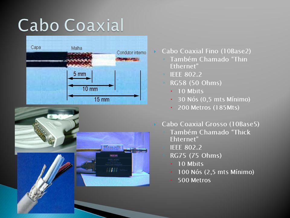 Cabo Coaxial Fino (10Base2) Também Chamado Thin Ethernet IEEE 802.2 RG58 (50 Ohms) 10 Mbits 30 Nós (0,5 mts Mínimo) 200 Metros (185Mts) Cabo Coaxial Grosso (10Base5) Também Chamado Thick Ehternet IEEE 802.2 RG75 (75 Ohms) 10 Mbits 100 Nós (2,5 mts Mínimo) 500 Metros Dielétrico