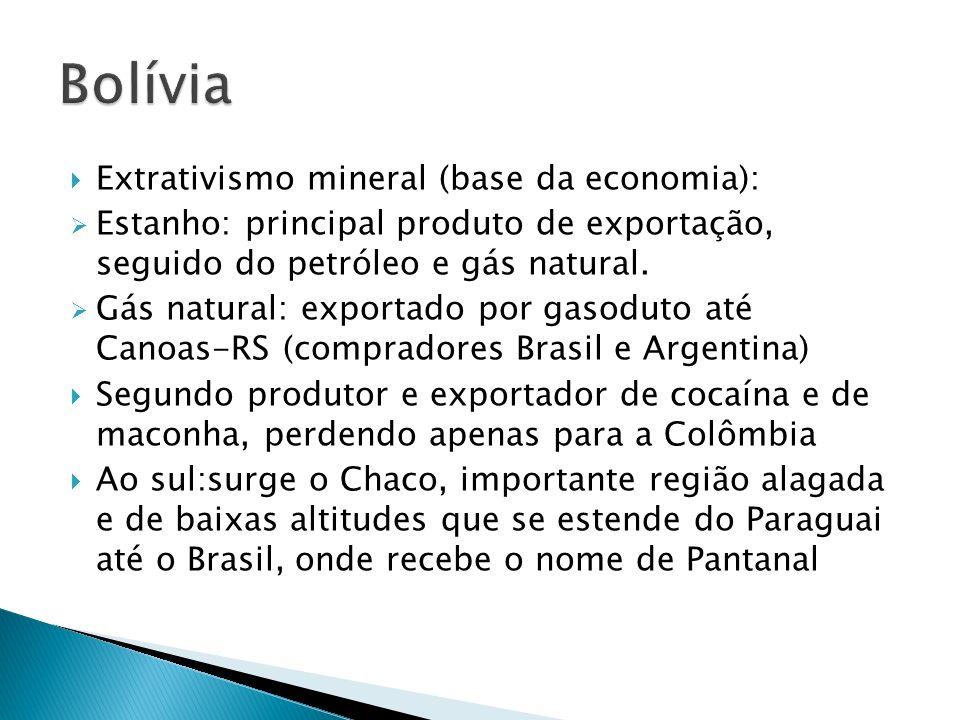 Extrativismo mineral (base da economia): Estanho: principal produto de exportação, seguido do petróleo e gás natural.