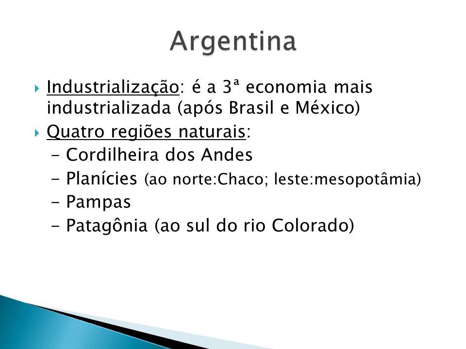 Industrialização: é a 3ª economia mais industrializada (após Brasil e México) Quatro regiões naturais: - Cordilheira dos Andes - Planícies (ao norte:Chaco; leste:mesopotâmia) - Pampas - Patagônia (ao sul do rio Colorado)