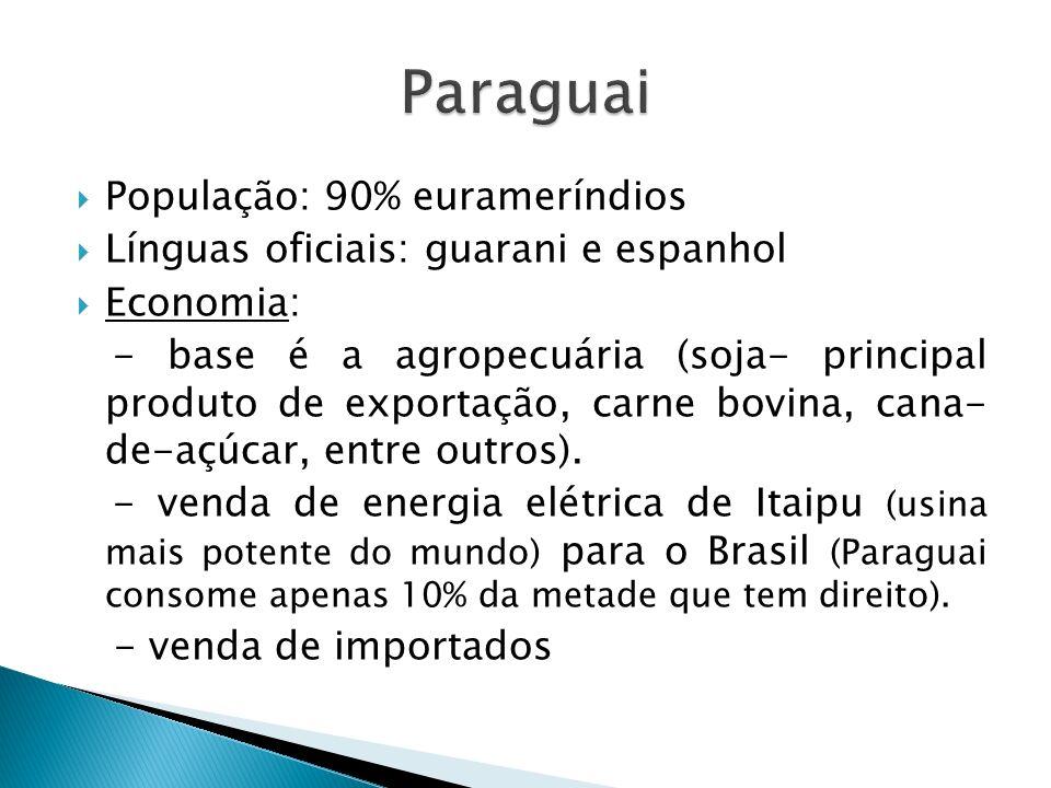 População: 90% eurameríndios Línguas oficiais: guarani e espanhol Economia: - base é a agropecuária (soja- principal produto de exportação, carne bovina, cana- de-açúcar, entre outros).