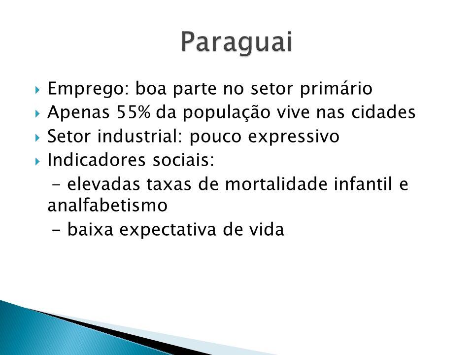 Emprego: boa parte no setor primário Apenas 55% da população vive nas cidades Setor industrial: pouco expressivo Indicadores sociais: - elevadas taxas de mortalidade infantil e analfabetismo - baixa expectativa de vida