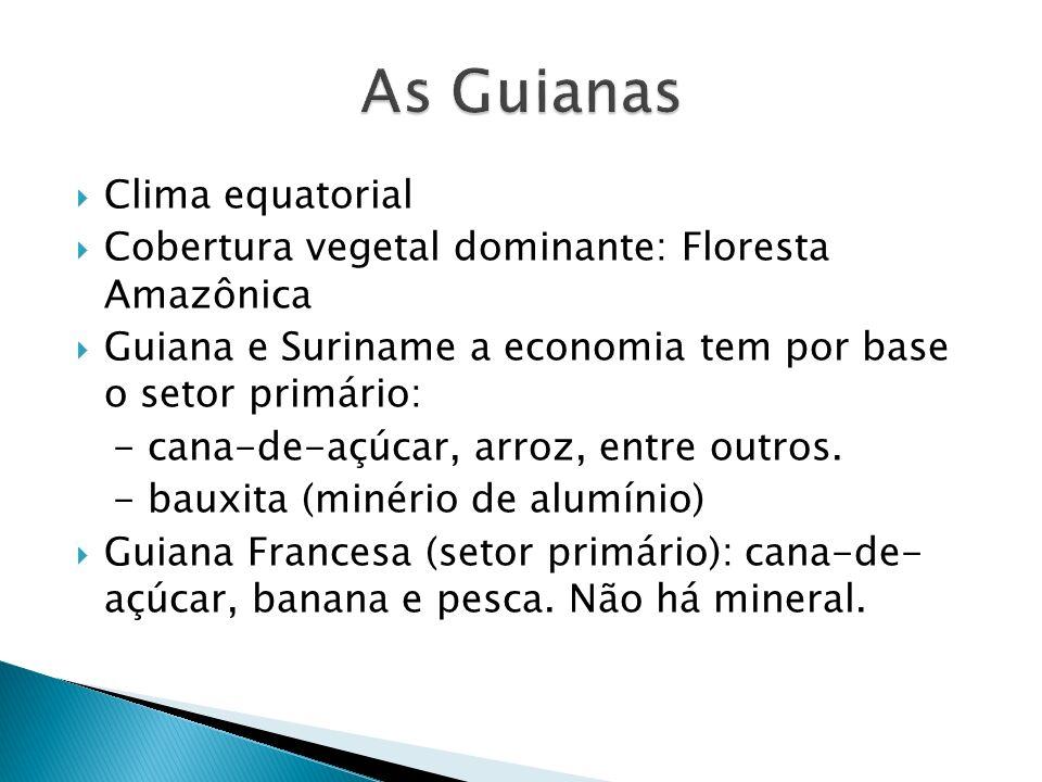 Clima equatorial Cobertura vegetal dominante: Floresta Amazônica Guiana e Suriname a economia tem por base o setor primário: - cana-de-açúcar, arroz, entre outros.