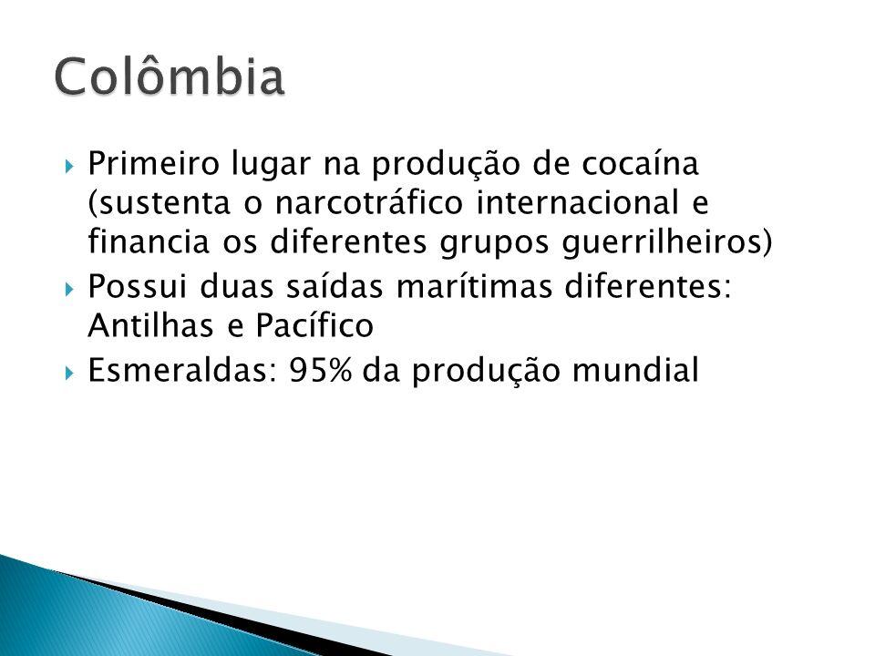 Primeiro lugar na produção de cocaína (sustenta o narcotráfico internacional e financia os diferentes grupos guerrilheiros) Possui duas saídas marítimas diferentes: Antilhas e Pacífico Esmeraldas: 95% da produção mundial