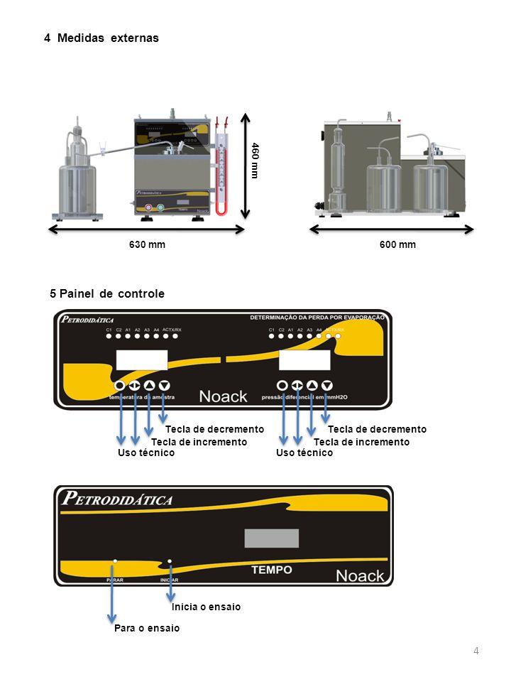 4 5 Painel de controle 4 Medidas externas 460 mm 630 mm600 mm Tecla de decremento Tecla de incremento Uso técnico Tecla de decremento Tecla de incremento Uso técnico Inicia o ensaio Para o ensaio