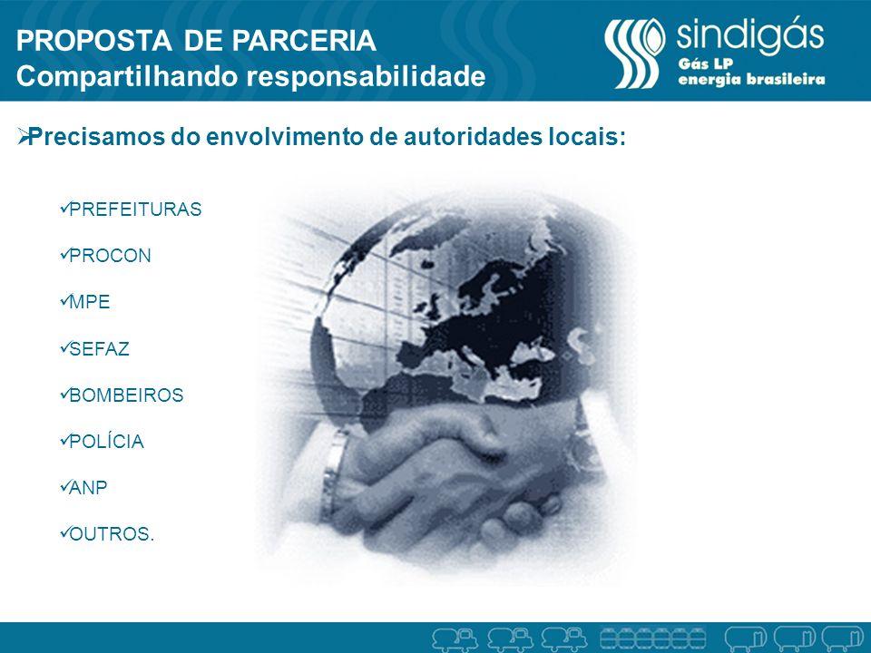 PROPOSTA DE PARCERIA Compartilhando responsabilidade Precisamos do envolvimento de autoridades locais: PREFEITURAS PROCON MPE SEFAZ BOMBEIROS POLÍCIA ANP OUTROS.
