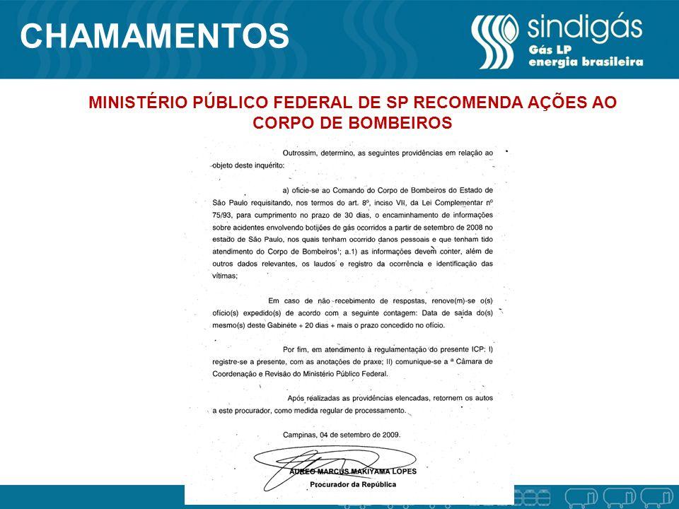 CHAMAMENTOS MINISTÉRIO PÚBLICO FEDERAL DE SP RECOMENDA AÇÕES AO CORPO DE BOMBEIROS