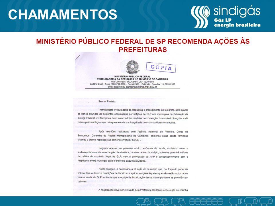 MINISTÉRIO PÚBLICO FEDERAL DE SP RECOMENDA AÇÕES ÀS PREFEITURAS CHAMAMENTOS