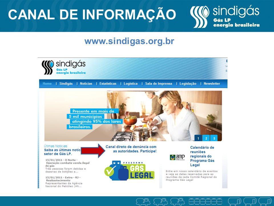 CANAL DE INFORMAÇÃO www.sindigas.org.br