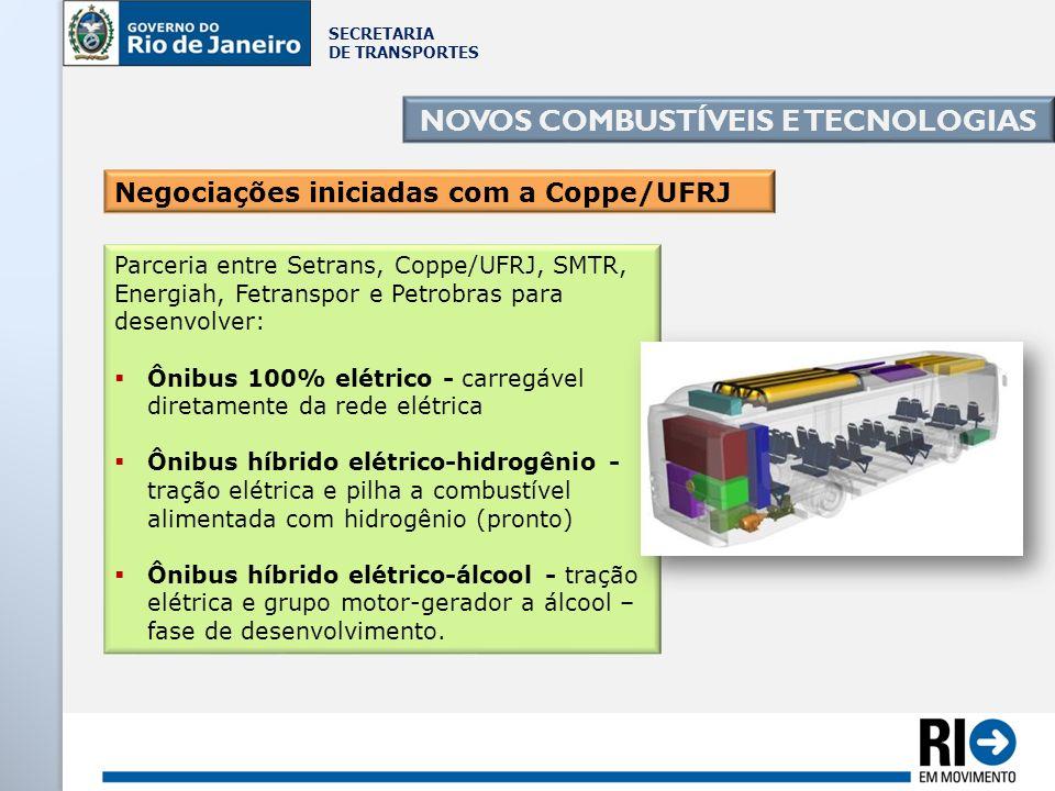 SECRETARIA DE TRANSPORTES NOVOS COMBUSTÍVEIS E TECNOLOGIAS Parceria entre Setrans, Coppe/UFRJ, SMTR, Energiah, Fetranspor e Petrobras para desenvolver
