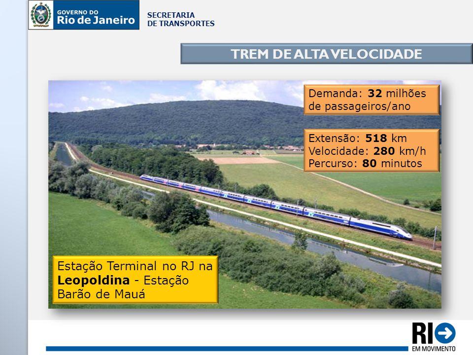 SECRETARIA DE TRANSPORTES TREM DE ALTA VELOCIDADE Demanda: 32 milhões de passageiros/ano Extensão: 518 km Velocidade: 280 km/h Percurso: 80 minutos Es