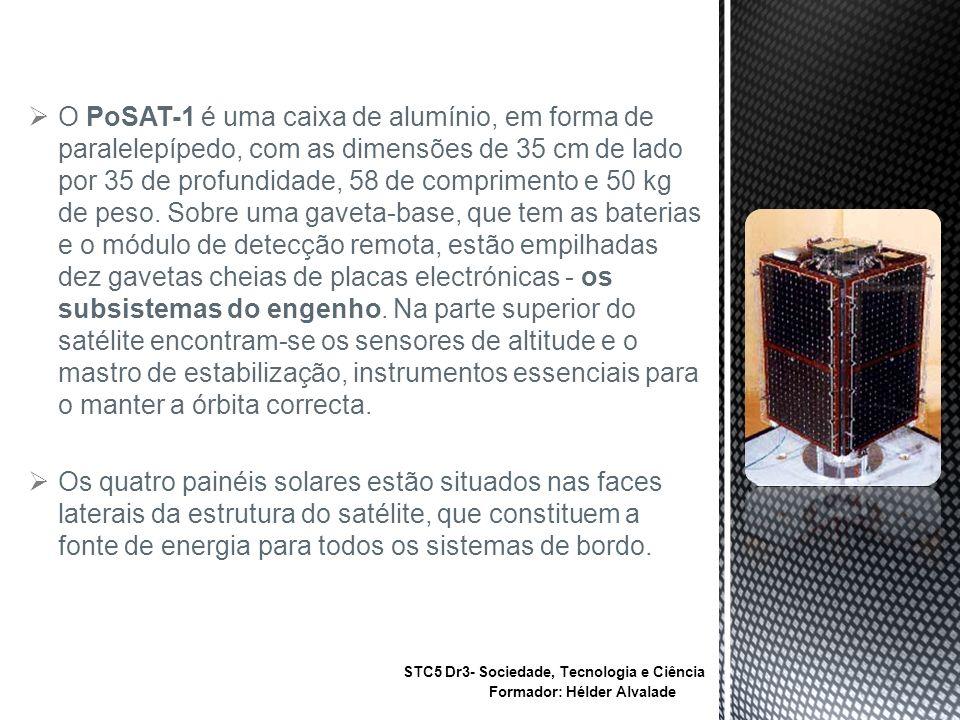 O PoSAT-1 é uma caixa de alumínio, em forma de paralelepípedo, com as dimensões de 35 cm de lado por 35 de profundidade, 58 de comprimento e 50 kg de peso.