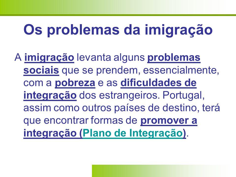 Os problemas da imigração A imigração levanta alguns problemas sociais que se prendem, essencialmente, com a pobreza e as dificuldades de integração d