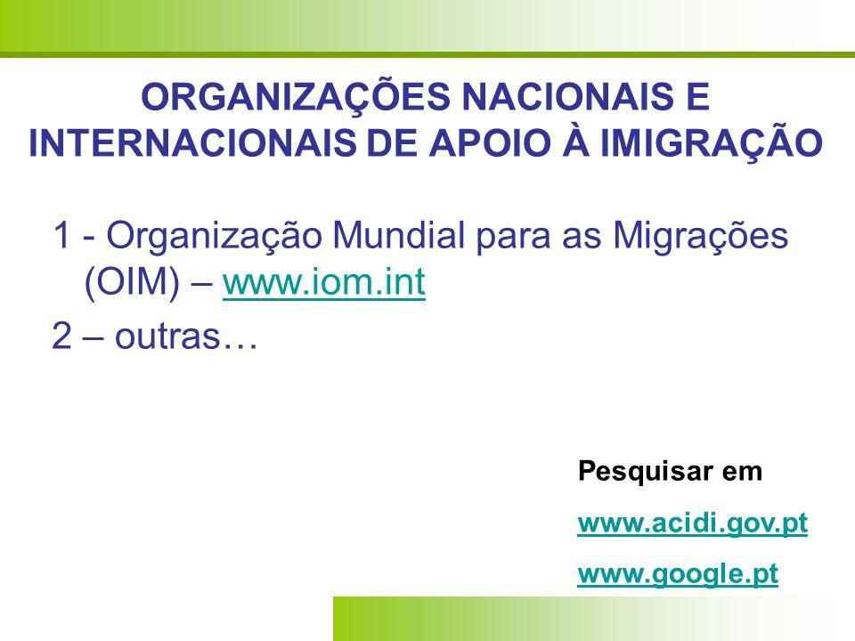 ORGANIZAÇÕES NACIONAIS E INTERNACIONAIS DE APOIO À IMIGRAÇÃO 1 - Organização Mundial para as Migrações (OIM) – www.iom.intwww.iom.int 2 – outras… Pesq