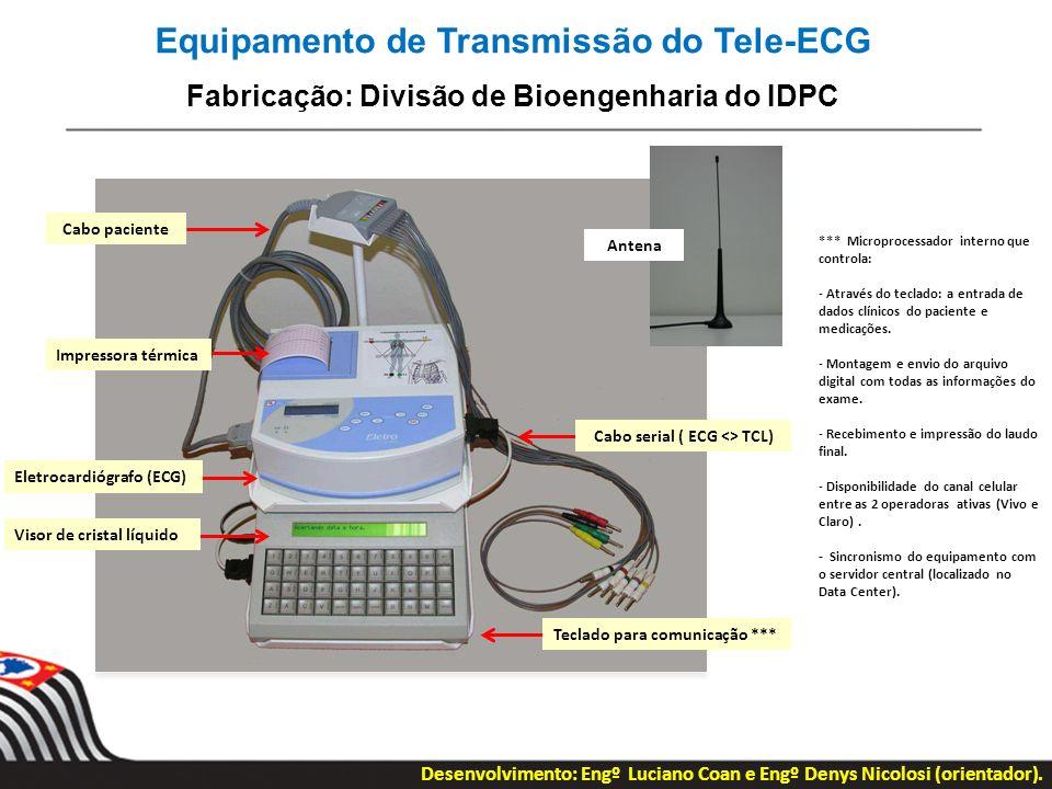 Equipamento de Transmissão do Tele-ECG Fabricação: Divisão de Bioengenharia do IDPC *** Microprocessador interno que controla: - Através do teclado: a