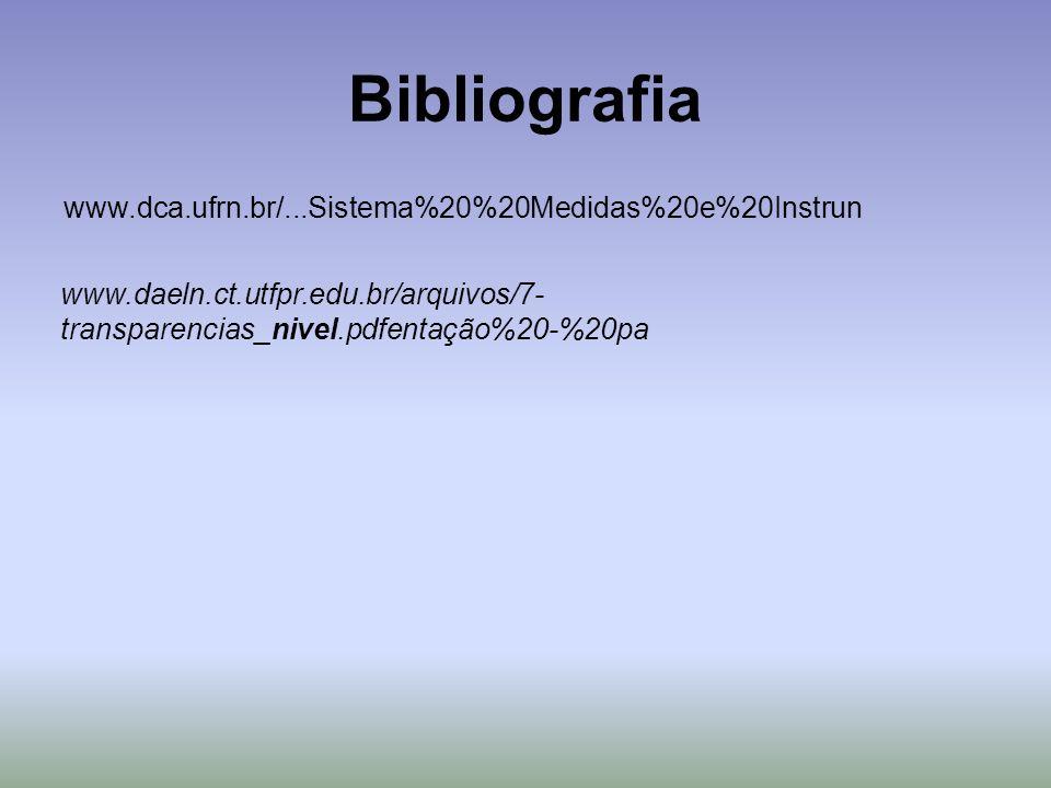 Bibliografia www.dca.ufrn.br/...Sistema%20%20Medidas%20e%20Instrun www.daeln.ct.utfpr.edu.br/arquivos/7- transparencias_nivel.pdfentação%20-%20pa