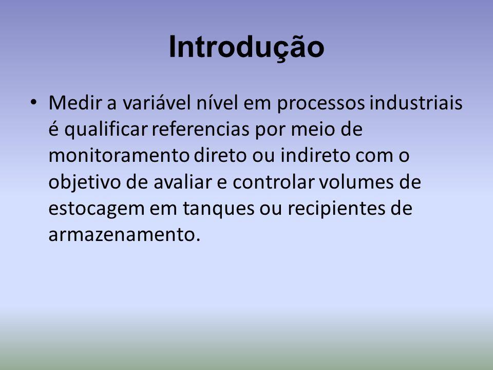 Introdução Medir a variável nível em processos industriais é qualificar referencias por meio de monitoramento direto ou indireto com o objetivo de ava