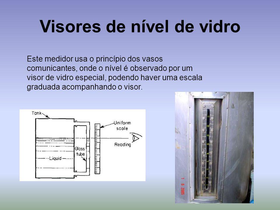 Visores de nível de vidro Este medidor usa o princípio dos vasos comunicantes, onde o nível é observado por um visor de vidro especial, podendo haver