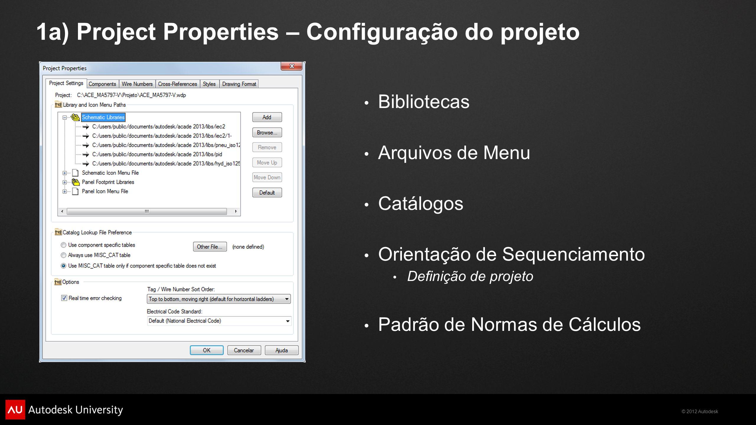 © 2012 Autodesk 1a) Project Properties – Configuração do projeto Bibliotecas Arquivos de Menu Catálogos Orientação de Sequenciamento Definição de proj