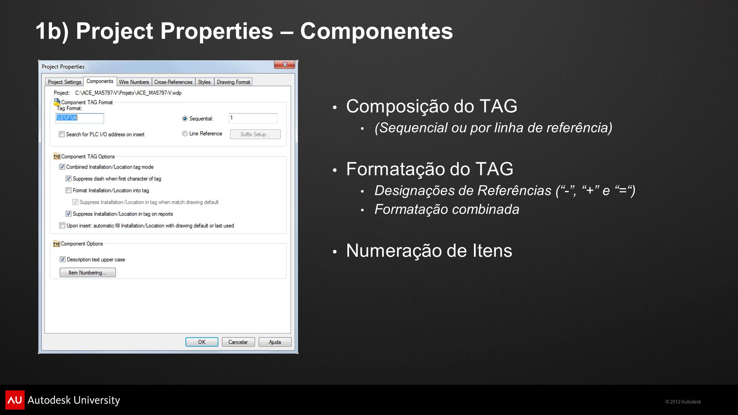 © 2012 Autodesk 1b) Project Properties – Componentes Composição do TAG (Sequencial ou por linha de referência) Formatação do TAG Designações de Referê