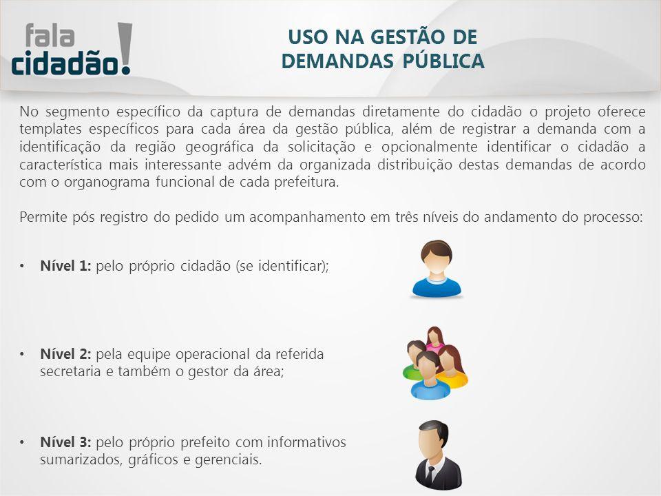 Existem três métodos de registro de demandas, todos integrados à mesma base de dados: 1.Totem 2.Portal do Cidadão, integrado ao site oficial da prefeitura; 3.Dispositivos móveis com acesso à internet; 4.Call Center.