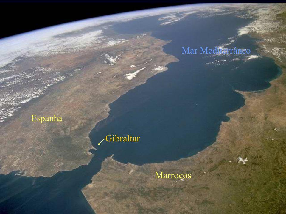 Gibraltar Marrocos Espanha Mar Mediterrâneo