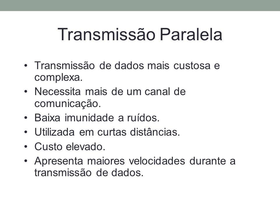 Transmissão Paralela Transmissão de dados mais custosa e complexa. Necessita mais de um canal de comunicação. Baixa imunidade a ruídos. Utilizada em c