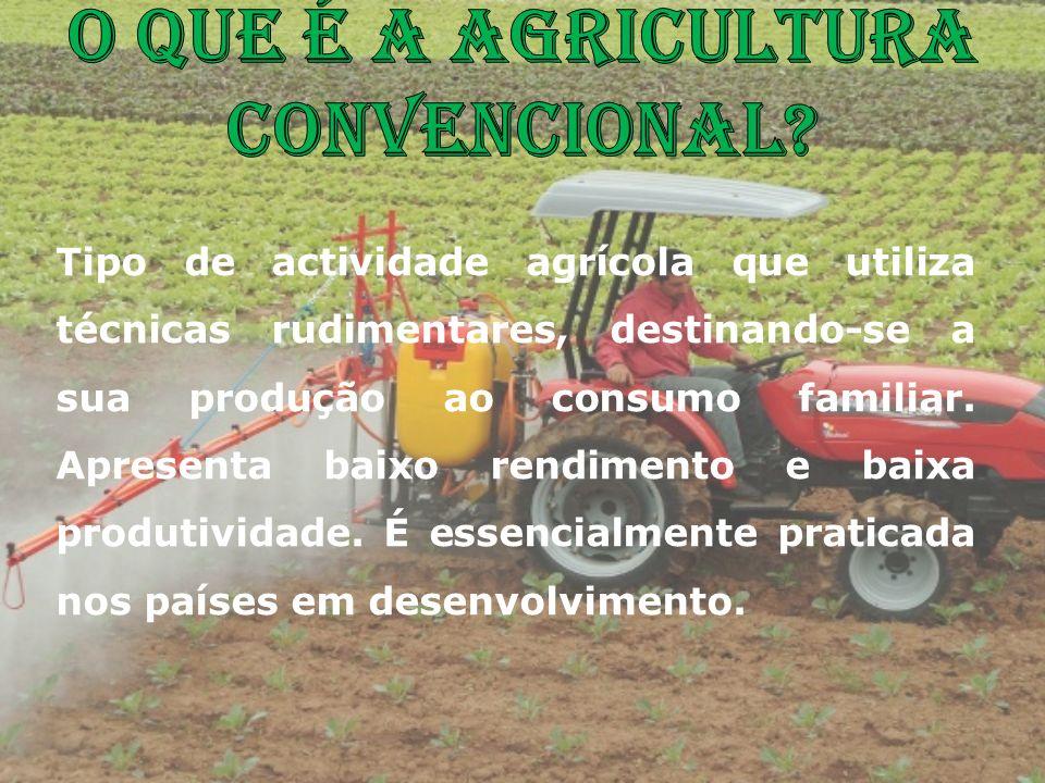 Tipo de actividade agrícola que utiliza técnicas rudimentares, destinando-se a sua produção ao consumo familiar. Apresenta baixo rendimento e baixa pr