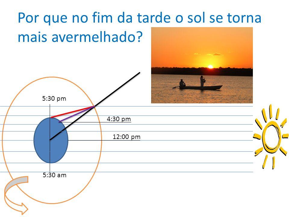 Por que no fim da tarde o sol se torna mais avermelhado? 5:30 pm 4:30 pm 12:00 pm 5:30 am