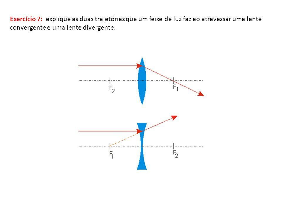 Exercício 7: explique as duas trajetórias que um feixe de luz faz ao atravessar uma lente convergente e uma lente divergente.