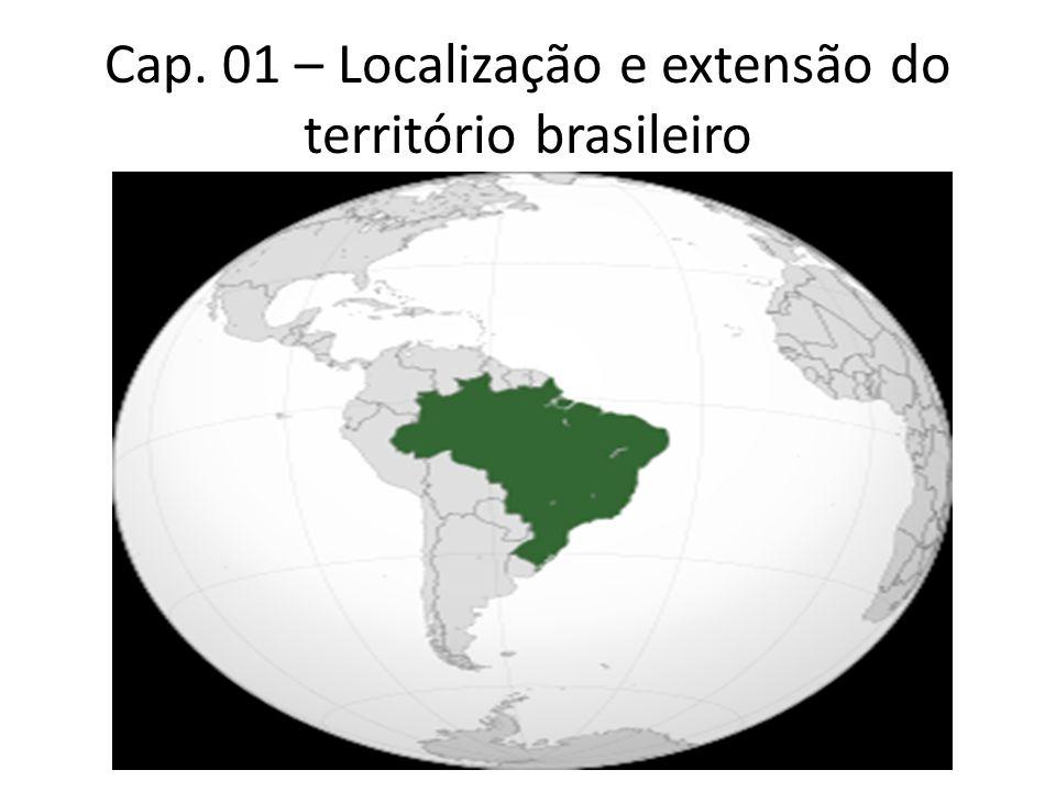 Localização do território Se considerarmos a Linha do Equador, o Brasil possui terras nos hemisférios Norte (7%) e Sul (93%).