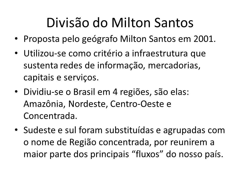 Divisão do Milton Santos Proposta pelo geógrafo Milton Santos em 2001. Utilizou-se como critério a infraestrutura que sustenta redes de informação, me