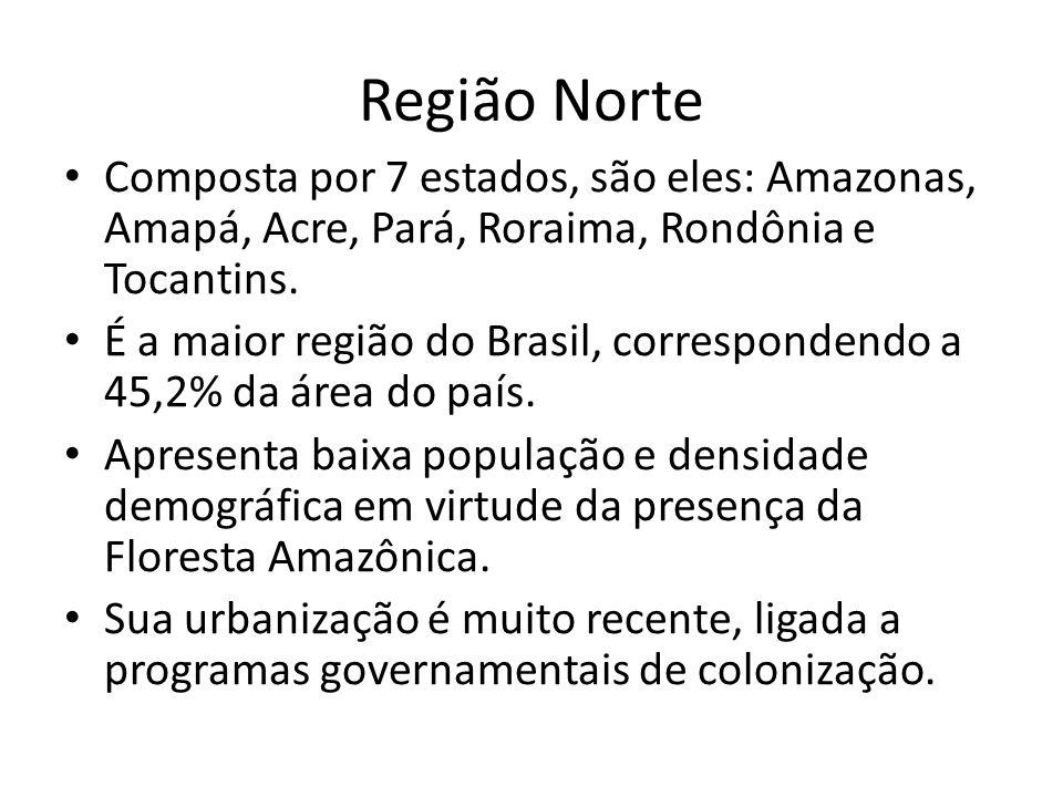 Região Norte Composta por 7 estados, são eles: Amazonas, Amapá, Acre, Pará, Roraima, Rondônia e Tocantins. É a maior região do Brasil, correspondendo